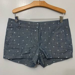 J. Crew Factory Dotted Chambray Shorts Polka Dot